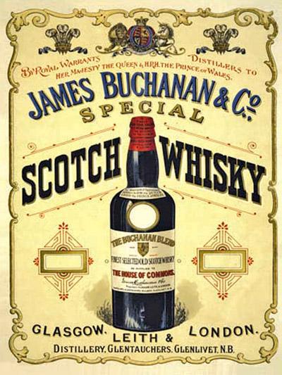 Anúncio comercial antigo do Blended Buchanan's