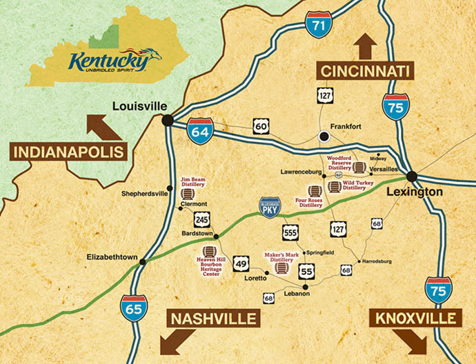 Mapa Kentucky EUA